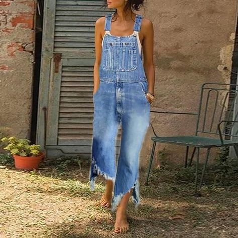 Casual Denim Blue Strap With Wide Leg Edging Jumpsuit Overalls