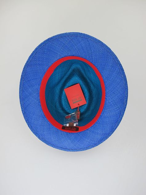 Turquoise blue panama straw medium-brimmed hat. Summer wear. Hat size 56cm. 98f69259a59f