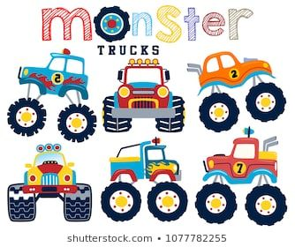 Set Of Monster Truck Cartoon Vector With Images Cartoons
