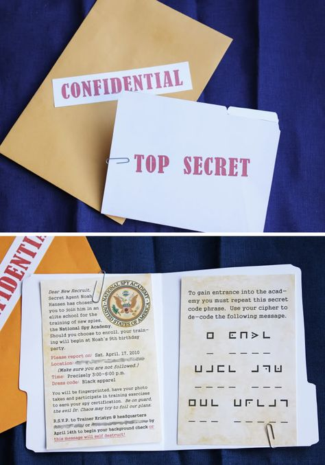 Starting with this spy party invite w/code, to activities and goody bags- this is an AWESOME SPY PARTY!!!