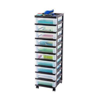 Iris 108 Qt 10 Drawer Storage Bin In Black 585650 The Home Depot Rolling Storage Cart Rolling Storage Storage Cart