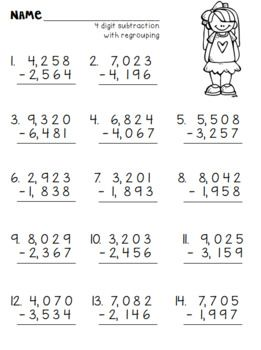 4 Digit Subtraction Packet Including Subtracting Across The Zeros Kids Math Worksheets Math Addition Worksheets Maths Practice Sheets