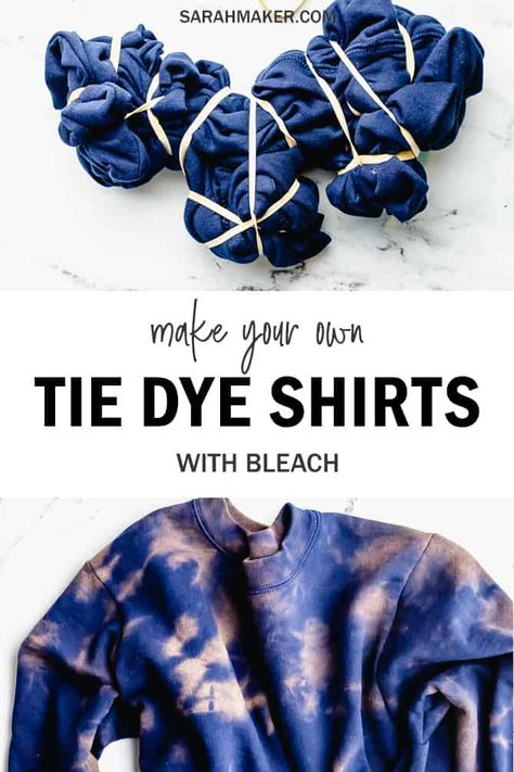 Make custom sweatshirts or sweatpants wth this easy bleach tie-dye tutorial. Fête Tie Dye, Tie Dye Party, How To Tie Dye, Tie Dye Hoodie, Easy Diy Tie Dye, Tie Dye Knots, Shibori Tie Dye, How To Make, Tye Dye Bleach