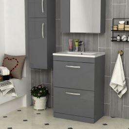 Turin 500 600 800mm Indigo Grey Gloss Floor Standing 2 Drawer Vanity Unit Cabinet Optional Basin With Images Vanity Units Wall Hung Vanity Bathroom Vanity Units