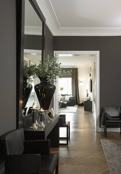 | P | A beautiful home in Oslo with grey walls and crisp white trim and a  19th century herringbone floor. | Home style | Pinterest | White trim, ...