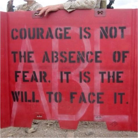 A great saying for the word  COURAGE. I love you troops! And so do your family's.