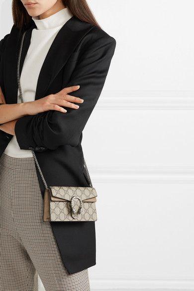 ba8ad1fe1 Gucci | Dionysus super mini printed coated-canvas and suede shoulder bag |  NET-A-PORTER.COM