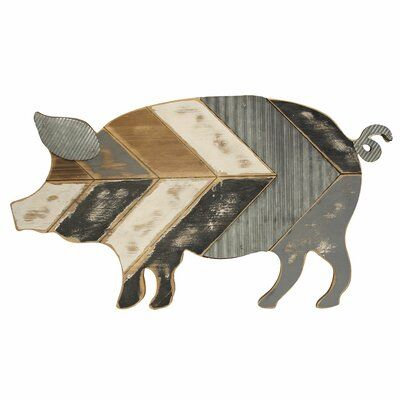 August Grove Wood And Galvanized Metal Pig Wall Decor Wayfair In 2020 Pig Wall Art Pig Decor Galvanized Metal