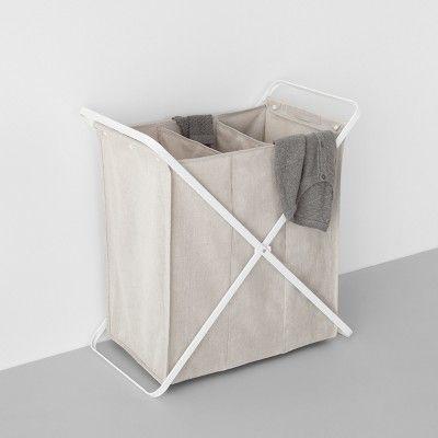 Folding X Frame Hamper Triple Bin Made By Design White