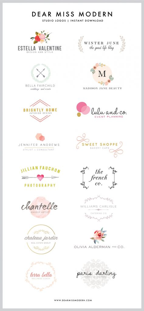 Adorable business logos by Dear Miss Modern Instant Logos
