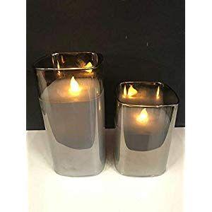 Hochwertige Eckige Led Kerze Im Glas Windlicht Mit Timer