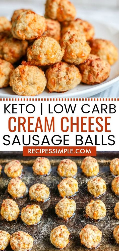 These Low Carb Cream Cheese Sausage Balls are Keto friendly and make a delicious. - These Low Carb Cream Cheese Sausage Balls are Keto friendly and make a delicious appetizer or snack - Low Carb Veggie, Low Carb Keto, Low Carb Recipes, Cooking Recipes, Diet Recipes, Recipies, Easy Low Carb Meals, Atkins Recipes, Tuna Recipes