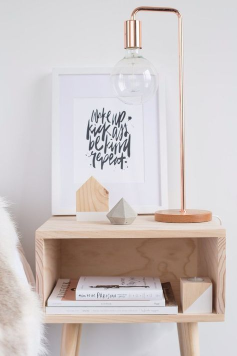 Copper bedside lamp l 'Wake up, kick ass, be kind, repeat' quote l Timber bedside table