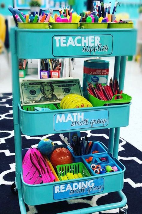 The best teacher cart ideas including teacher cart organization, decorations, labels and tons of DIY ideas. You can make it into a stem station, a calm down cart, a guided reading cart and so much more to do with your rolling cart. First Grade Classroom, Classroom Setup, Kindergarten Classroom, School Classroom, Future Classroom, Classroom Organisation, Teacher Organization, Small Group Organization, Guided Reading Organization