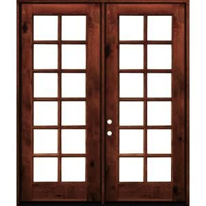 Krosswood Doors 64 In X 96 In French Knotty Alder Wood 12 Lite Clear Glass Red Chestnut Stain Left Active Double Prehung Front Door Phed Ka 412 54 80 134 La R Alder Wood Double Doors Exterior Clear Glass