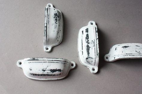 4 Shabby Knäufe weiß schwarz Griffe Möbelgriffe von wohnraumformer