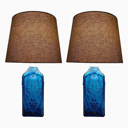 Vintage Swedish Art Gl Table Lamps