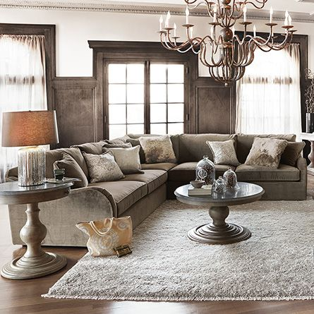 Family Room Leeward 123 Three Piece Upholstered Sectional In Vernon Mink