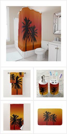 Palm Trees Silhouette In Orange Sunset Beach Themed Bathroom Decor