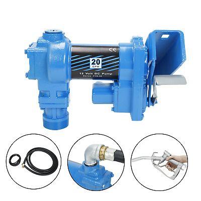 12VOLT DC 20 GPM GASOLINE FUEL TRANSFER PUMP GAS DIESEL KEROSENE W//NOZZLE KIT