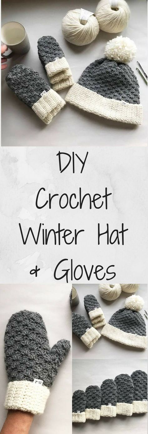 DIY Crochet Pattern for comfy winter gloves and matching hat. Love the gorgeous design! #Cozy #Gloves #DIY #Crochet #Patterns #InstantDownload #affiliate #WinterHat #Beanie #DIYProjects #affordable #Personalize #GiftsForHer