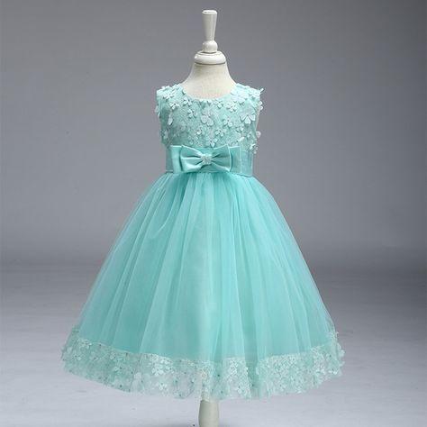 ea3ba184a95 Kid Elegant Appliqued Floral Sleeveless A-Line Wedding Dress Party Dress  for Girls at PatPat.com