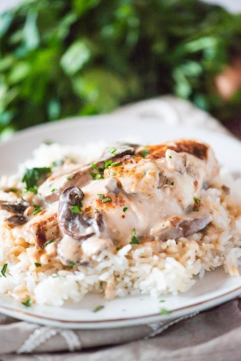 Baked Chicken Recipe With Mushrooms And Cream Of Mushroom Soup Over Rice Baked Chicken And Mushrooms Chicken With Mushroom Soup Mushroom Soup Recipes
