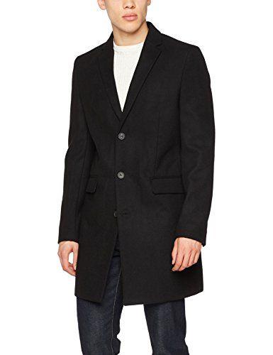 New Look Smart Overcoat Manteau Noir (Black 1) Medium
