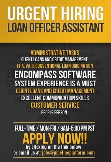 We Are Hiring For Loan Officer Assistant Position   Now Hiring  Now Hiring Flyer Template
