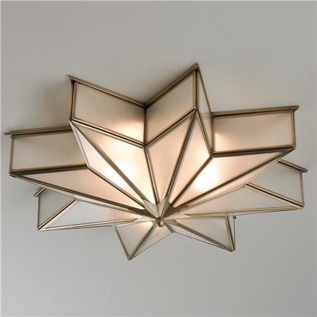 Frosted Glass Star Ceiling Light Frosted Glass Star Ceiling Light - Shades of Light<br> The magic of Hollywood stars comes alive in this 8 point star flush mount light in glare free frosted glass trimmed with satin brass. Star Lights On Ceiling, Ceiling Light Shades, Ceiling Light Fixtures, Ceiling Stars, Lighting Shades, Brass Ceiling Light, Ceiling Lamps, Ceiling Lighting, Bedroom Ceiling Lights