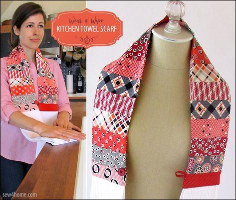 Favorite Sewing Projects Wear 'n' Wipe Kitchen Towel Scarf