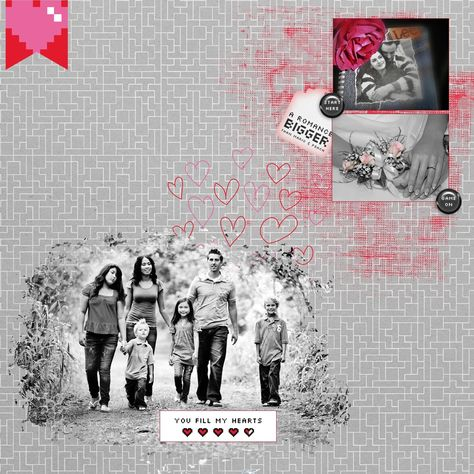 Love fill my heart uses paper and elements from the Video Game Valentine bundle at Pixel Scrapper.
