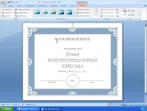 Word 2007 Tutorial 17 - Making A Certificate With A Template - certificate word