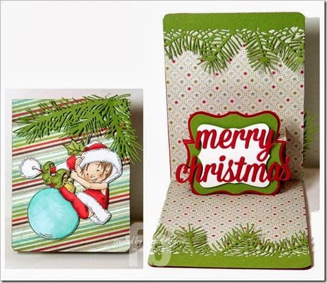 Merry Christmas created by Frances Byrne using Sizzix Pop N Cuts A2 Card Base; Sizzix Pop N Cuts Labels Insert; Sizzix Labels Framelits; Impression Obsession Pine Branch; Memory Box Pine Needle Border; Little Elf Fin Stamp - Penny Black/Mo Manning