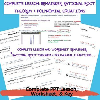Remainder Factor Rational Root Theorems Solving Polynomial