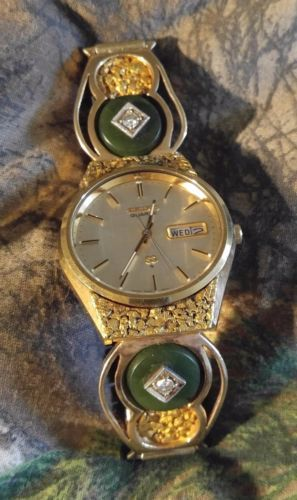 Seiko Quartz Gold Nugget Mens Custom Watch Genuine Alaska Gold Nuggets Jade And Custom Watch Gold Nugget Quartz