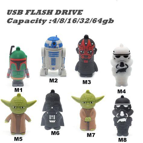 3D Cartoon Star Wars Heros Yoda usb 2.0 Memory Stick Flash Pendrive 2gb-16gb