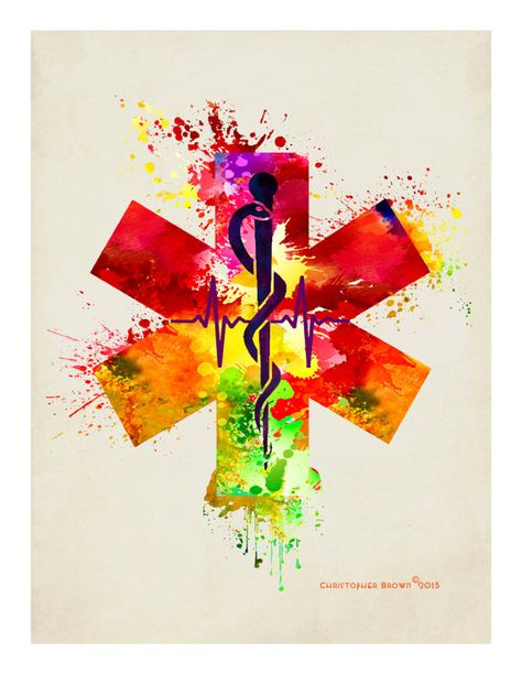 Rod of asclepius with the star of life watercolor by artofthepage paramedic tattoo, paramedic gifts