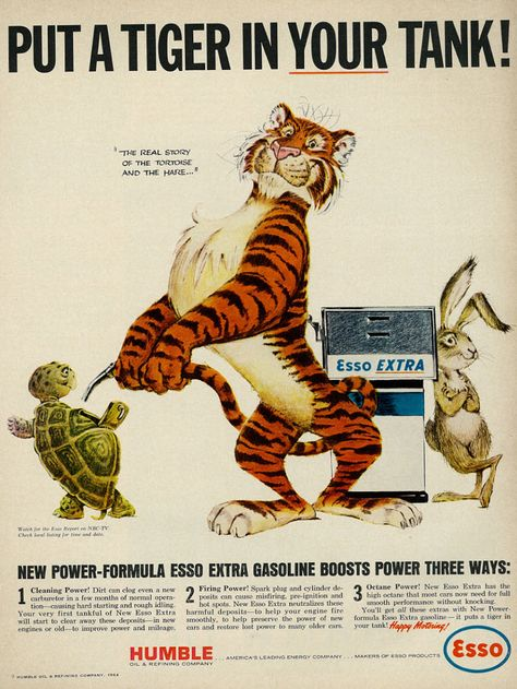 """Illustrated 1964 Ad, Esso Extra Gasoline, """"Put a Tiger in Your Tank!,"""" with Tiger, Tortoise, & Hare 