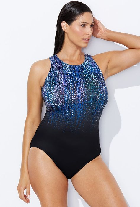 29959ad1ffdcd Buy Chlorine Resistant Gemfall High Neck Swimsuit at SwimSuitsForAll.com. Easy  returns and exchanges. Check out our special swimsuit sale of the day!