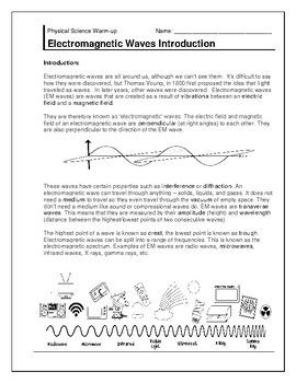 Electromagnetic Waves Introduction Page And Homework Assignment Homework Assignments Teacher Created Resources Homework
