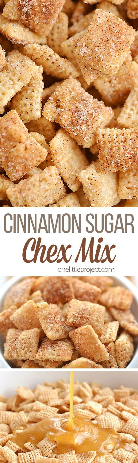 Cinnamon Sugar Chex Mix: Easy, Delicious and Insanely Addictive! - Appetizers - This cinnamon sugar chex mix is SO GOOD. It& super easy to make, and the sweet buttery crunch - Snack Mix Recipes, Yummy Snacks, Yummy Food, Snack Mixes, Party Recipes, Healthy Snacks, Köstliche Desserts, Dessert Recipes, Appetizer Recipes
