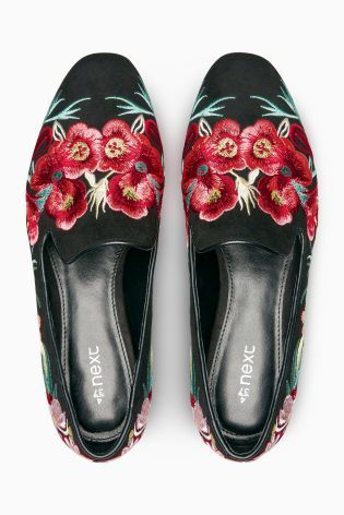 47ad583ab905e Buy Black Embroidered Slipper Shoes from the Next UK online shop ...