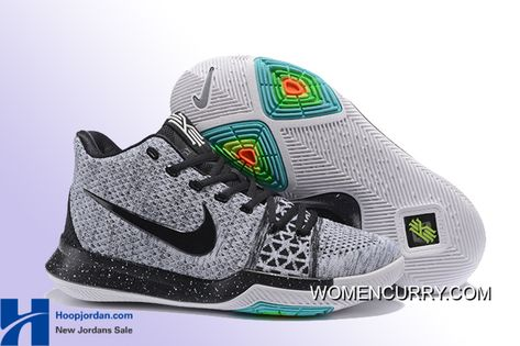 "5e9ae2be2e2 ""Oreo"" Nike Kyrie 3 Wolf Grey Black Men s Basketball Shoe New Style"