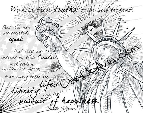 Coloring Page The Declaration Of Independence Celebrate The 4th