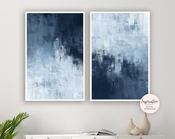 Set of 2 blue prints, Set of 2 prints, Set of 2 Wall Art, Blue Set Prints, Blue wall Art, Blue Abstract , Set of 2 Abstract Prints, Blue Art