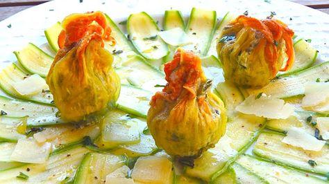 Les receptes que m'agraden: Flores de calabacín rellenas y carpaccio de calabacín, receta provenzal
