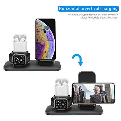 Simpfun Chargeur Sans Fil W01 Station De Charge Rapide Wireless Qi Pour Apple Watch 4 3 2 1 Airpods Iphone Xs Xr X 8 8 Mobile Phone Stands Phone Phone Stand
