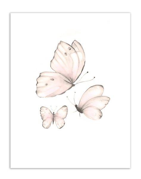 Butterfly Nursery Prints, Sweet Blush, Baby Girl Nursery, Pencil Drawing Prints, StudioQGallery, Set