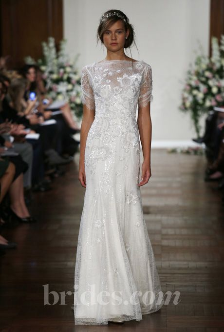 """Brides.com: Wedding Bloggers' Favorite Wedding Dresses from Fall 2013. """"Jenny Packham is consistently one of my favorite wedding gown designers—I love her vintage aesthetic! The soft silhouette of this gown is so flattering, and I love the beautiful lace detailing in the bodice and sleeves.""""—Nole GareyBrowse more Jenny Packham wedding dresses in our gallery."""
